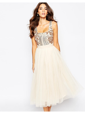 Little Mistress Sequin Midi Dress With Tulle Skirt