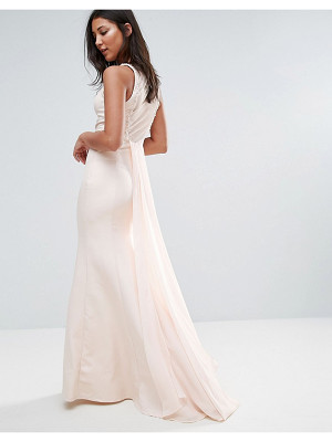 LITTLE MISTRESS Sheer Maxi Dress With Jewel Neckline