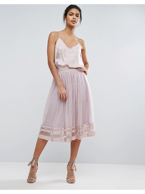 LITTLE MISTRESS Sheer Panel Tulle Midi Skirt