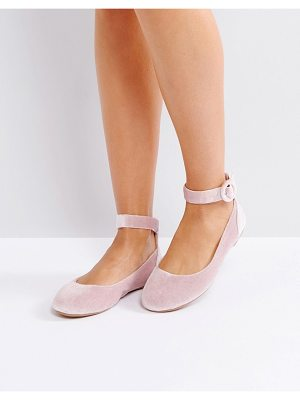 London Rebel Buckle Ankle Flat Ballerina Pumps
