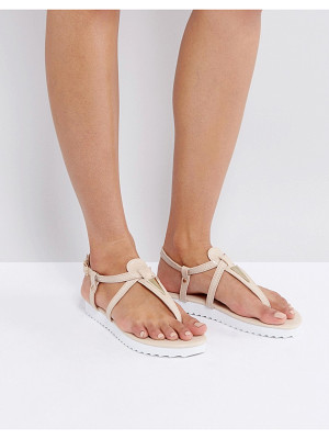LONDON REBEL Metal Trim Toepost Flat Sandal