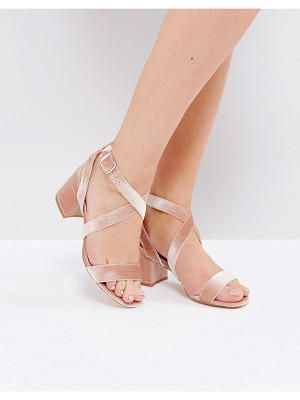 LONDON REBEL Velvet Cross Strap Heeled Sandal