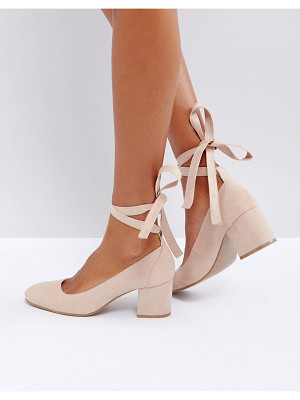 London Rebel Wide Fit Tie Ankle Kitten heel Shoes