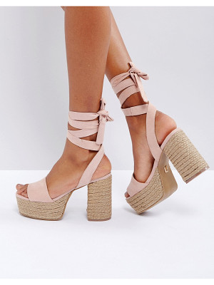 LOST INK Blush Platform Espadrille Heeled Sandals