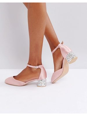 LOST INK Blush Satin Embellished Mid Heeled Shoes