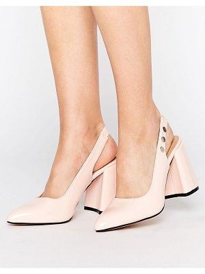Lost Ink Fatima Pink Slingback Block Heeled Shoes