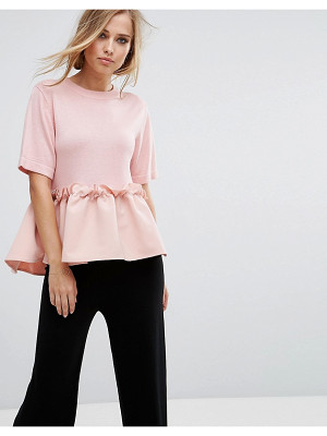 Lost Ink knitted t-shirt with contrast frill