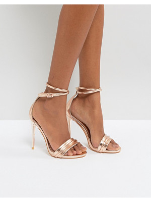 LOST INK Rose Gold Heeled Sandals