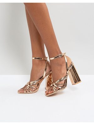 Lost Ink Rose Gold Heeled Strappy Sandals
