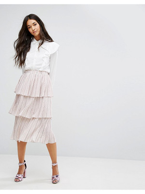 LOST INK Tiered Pleated Skirt