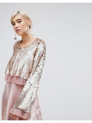 Lost Ink Top In Premium Sequin With Tassel Trim