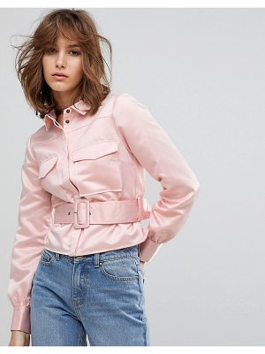 Lost Ink Western Shirt With Belt Detail In Satin