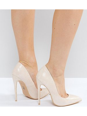 Lost Ink Wide Fit Abby Nude Heeled Pumps