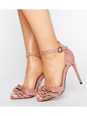 Lost Ink Wide Fit Blush Ruffle Heeled Sandals