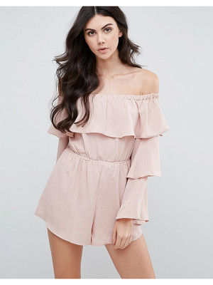 Love & Other Things Bardot Romper With Frill Sleeves