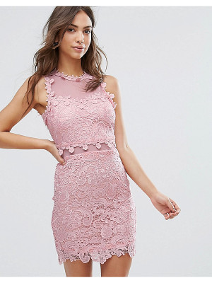Love & Other Things Lace Pencil Dress With Mesh Yoke