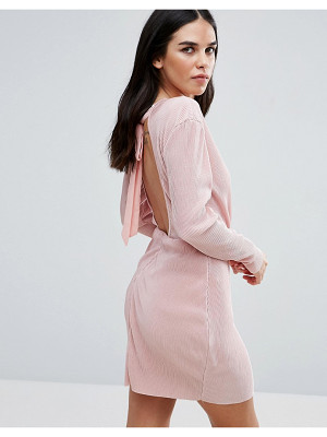 LOVE & OTHER THINGS Wrap Front Long Sleeve Plisse Dress