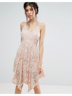 LOVE TRIANGLE Lace Dress With Hanky Hem