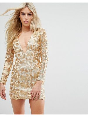 Love Triangle V Neck Mini Dress In All Over Metallic Lace