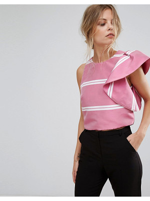 MANGO Ruffle Shoulder Stripe Top