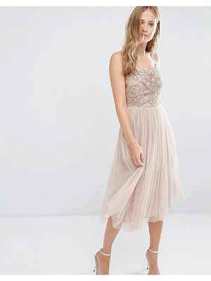Maya Cami Strap Midi Dress with Tulle Skirt and Embellishment