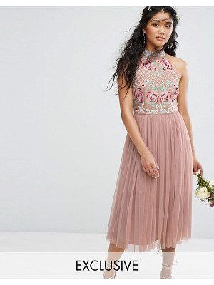 Maya High Neck Embroidered Rose Tulle Midi Dress