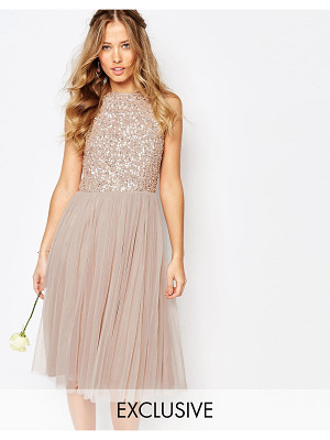 MAYA High Neck Midi Tulle Dress With Tonal Delicate Sequins