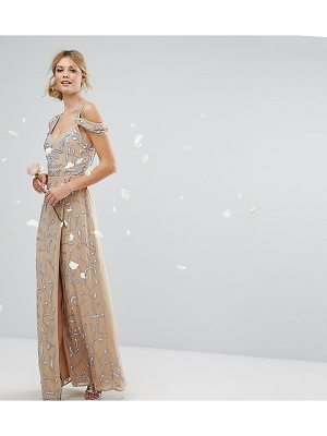 MAYA TALL Cold Shoulder Allover Embellished Maxi Dress