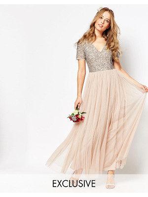 Maya V Neck Maxi Tulle Dress with Tonal Delicate Sequins