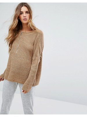 MICHA LOUNGE Slouchy Zip Detail Sweater