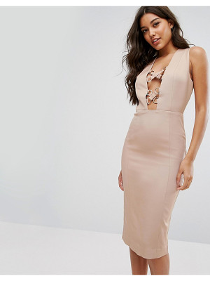MISHA COLLECTION Collection Pencil Dress With Lace Up Plunge