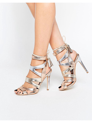 Miss Kg Frenchy Metal Gold Metallic Caged Heeled Sandals