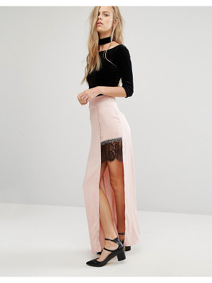 MISS SELFRIDGE Satin Lace Split Maxi Skirt