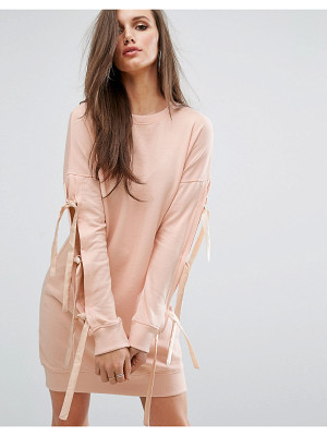 MISSGUIDED Bow Sleeve Sweat Dress