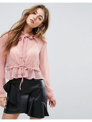 MISSGUIDED Chiffon Tie Neck Blouse