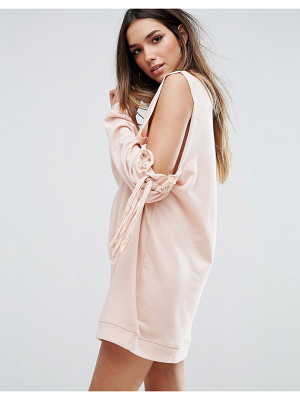 MISSGUIDED Cold Shoulder Gathered Sleeve Sweater Dress
