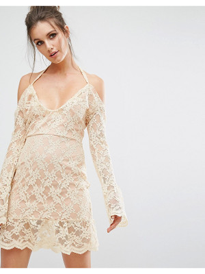MISSGUIDED Cold Shoulder Lace Overlay Dress