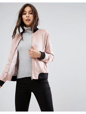 MISSGUIDED Contrast Rib Faux Suede Jacket