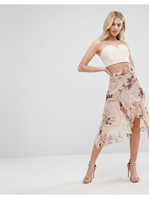 MISSGUIDED Floral Asymmetric Midi Skirt
