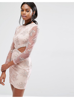 MISSGUIDED Floral Lace Cut Out Mini Dress