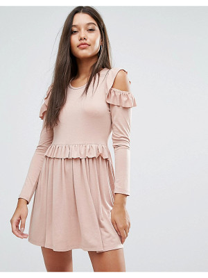 MISSGUIDED Frill Cold Shoulder Mini Dress