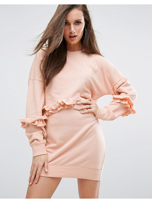 MISSGUIDED Frill Detail Sweat Dress