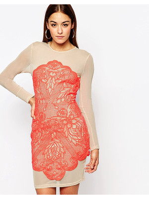 MISSGUIDED Lace Mesh Bodycon Dress