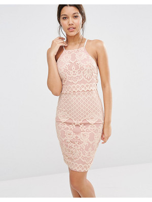 MISSGUIDED Lace Strappy Double Layer Dress