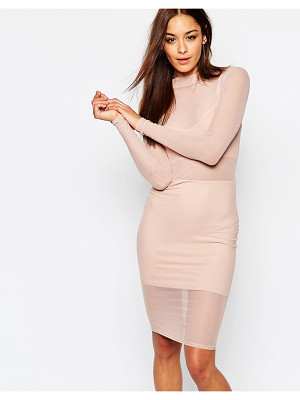 MISSGUIDED Mesh High Neck Bodycon Dress