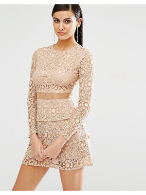 MISSGUIDED Mesh Insert Lace Skater Dress