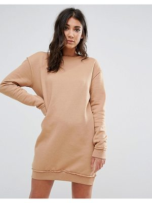 MISSGUIDED Nude Raw Edge Oversized Sweater Dress