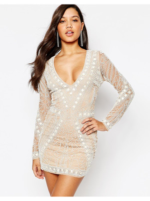 MISSGUIDED Premium Geo Embellished Bodycon Mini Dress