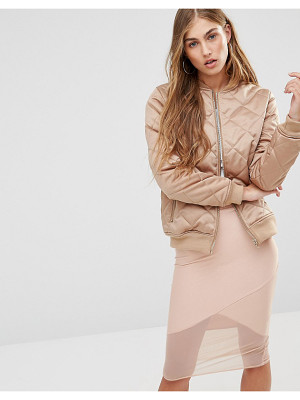 MISSGUIDED Quilted Satin Bomber Jacket