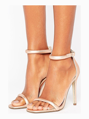 MISSGUIDED Rounded Strap Barely There Heeled Sandal Rose Gold